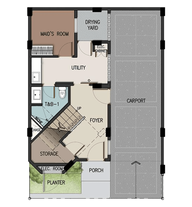 3-Storey Ground Floor Plan